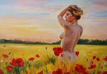 A girl and poppies