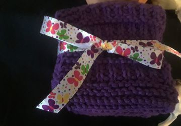 Deep Purple Knit Cotton Dishcloths/Facecloths