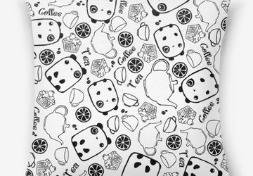 A pillow with panda-pattern