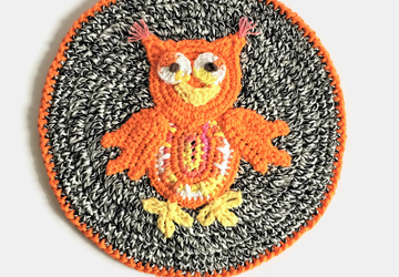 Crocheted Orange Owl Trivet
