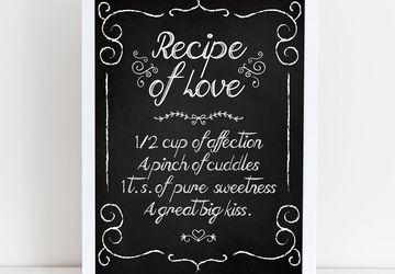 Kitchen decor, recipe wall art
