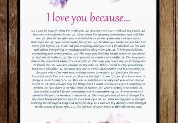 I Love You Because Personalized Digital Download - Reasons Why I Love You - Customized Digital Print - Anniversary Gift - Gift For Her