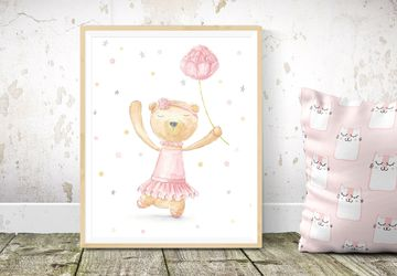 Girl Nursery Print, Printable Nursery Decor, Ballerina Bear Nursery Print, Instant Download Nursery Wall Art, Printable Children Room Art