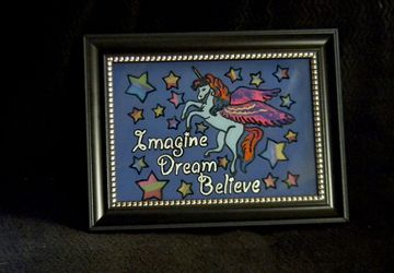 8x10 Etched and Painted Imagine Dream Believe Unicorn Glass Panel