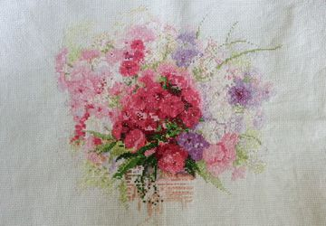 Completed boquet of flowers cross-stitch embroidery