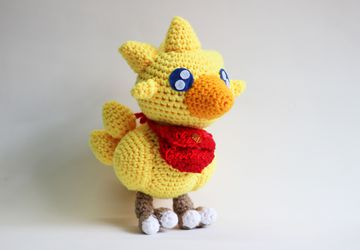 Chocobo and Moogle and Stiltzkin Final Fantasy IX FF9 Chibi Plushie Amigurumi Stuffed Toy Doll Handmade Softies Gift Baby Crochet Knit Plush Characters