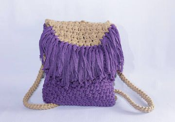 Backpack Crochet Bag Free Shipping!!! /Handmade Backpack/ Boho Style/Deep Purple Sandy Beige
