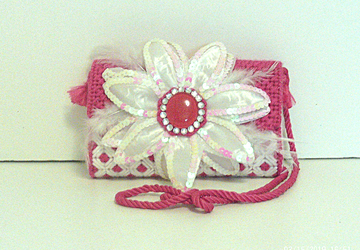 Pink & White Floral Clutch/Evening bag