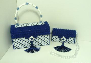 Royal Blue and White Handbag and Clutch Set