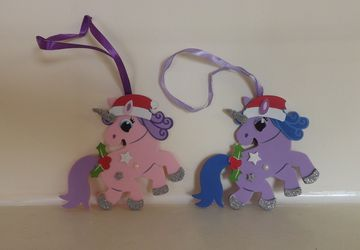 Christmas tree decoration cut out unicorns