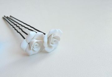 Hairpin with rose (polymer clay)