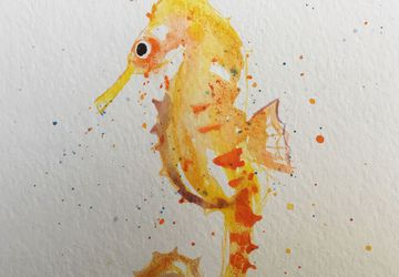 seahorse yellow watercolor