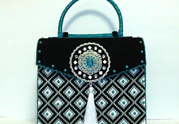 White,Black and Turquoise Large Handbag