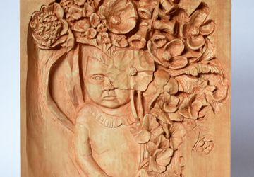 Wild Garden wood relief, handmade carving, basswood sculpture, peach/orange