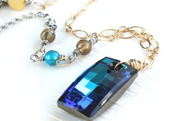 Swarovski Necklace Gold Silver Blue Crystal Necklace