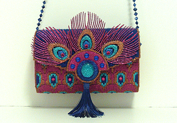 Unique and Exotic Royal Blue and Fuchsia Peacock Clutch