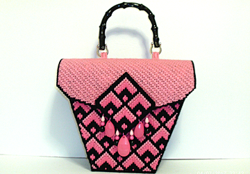 Pink and Black Jeweled Bargello Handbag