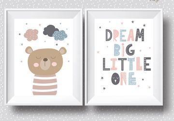 Dream big, bear, digital download, children wall art, Playroom print, nursery wall decor, kids poster, nursery poster