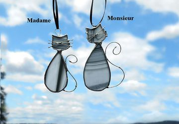 Stained Glass Cat Suncatcher Cats in Love MADAME & MONSIEUR