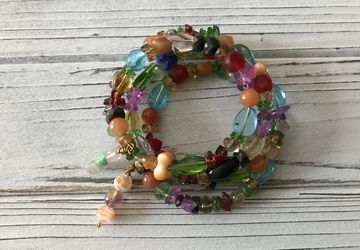 Colorful wrap bracelets, glass beads and gemstones