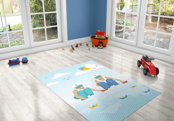 Boys with boats, PVC Carpet print, kids Room Decor ,Boys Carpets, Boys Nursery Art, Gift for Boys, kids linoleum rug, twin boys illustration