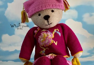 Hand knitted one of a kind teddy bear - Catmint.