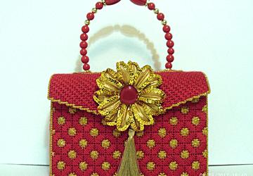 Red and Gold Bargello print handbag