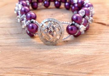 Purple Woven Beaded Bracelet