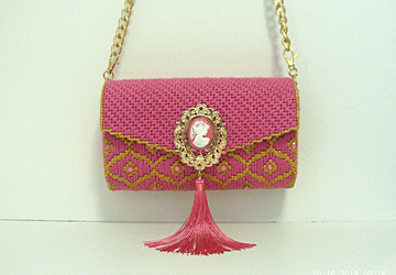 Pink and Gold large Clutch/Evening bag