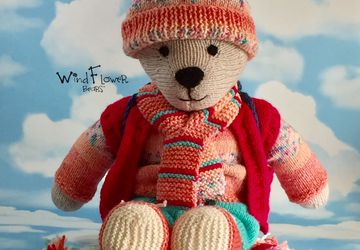 Hand knitted one of a kind teddy bear - Speedwell