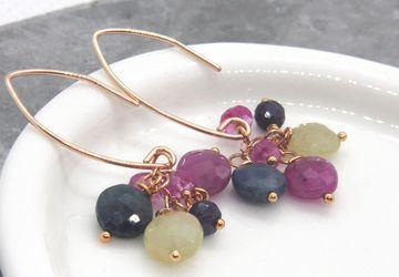 Sapphire Cluster Earrings Gold Filled September Birthstone Earrings Colorful Gemstone Jewelry Elegant Sapphire Jewelry