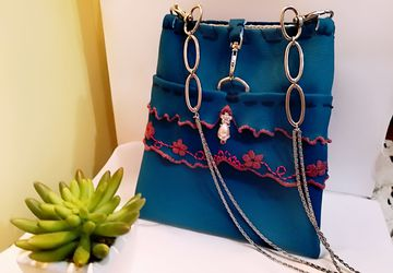 Little blue crossbody boho bag or clutch bag