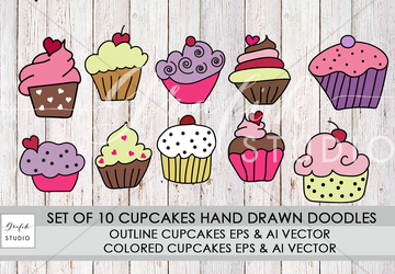 Set Of 10 Hand Drawn Cupcakes Doodle Vector