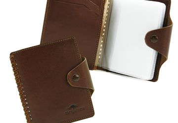 Leather cardholder with decorative plaiting Cangurione 3310-004 V/Tan