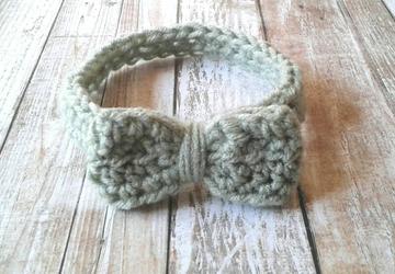 Baby Headband with Bow - Crocheted