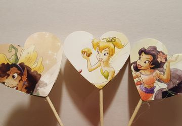 Tinkerbell cupcake topper, cupcake toppers, cake toppers, drink stirer, birthday decorations, party decorations, baby shower decorations, fairies, fruit skewer