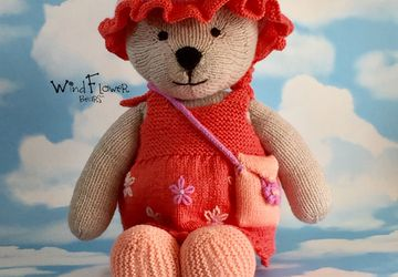 Hand knitted one of a kind teddy bear - Meadowsweet.