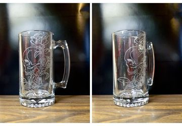 25 ounce etched Skull and Roses Beer Mug