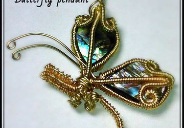 Abalone shell-wire wrap weave butterfly pendant