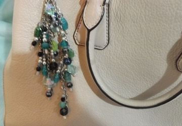 Swarovski glass pearl beaded bag charm