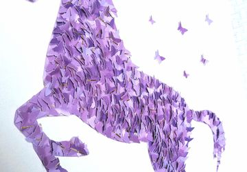 3D Purple Horse Wall Art