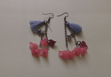 beautiful pink flower drop earrings