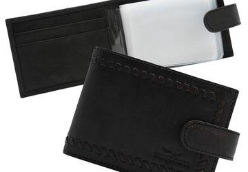 Leather handmade cardholder Cangurione 3312-001 DP/Black