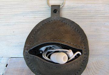 Leather Key Chain Coin Purse Ear Bud Pouch