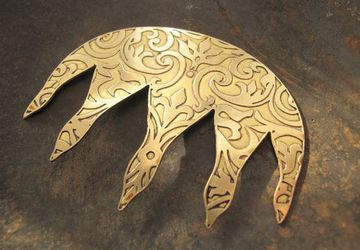 Brass antiquated hairpin with embrodiered design