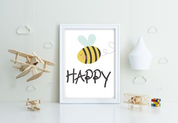 Bee Happy, Playroom print, nursery wall decor, kids poster, nursery print, kids wall art, playroom poster, digital download.