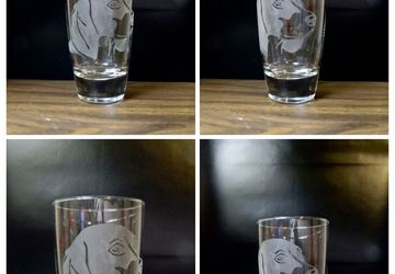 18 ounce etched Dog Breeds Tumbler Glass