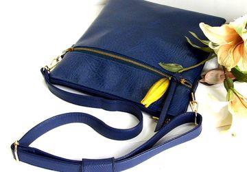 SOLD - Blue cross body bag, Vegan leather crossbody bag, Satchel handbag, Royal blue shoulder handbag, Faux leather, Gift for her