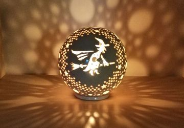 Ceramic Candle Holder With Witch Figurine, Ceramic Lantern, Halloween Decorations, Tea Light Holder