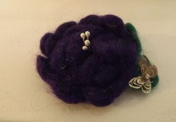 Beautiful Rose flower needle felting brooch